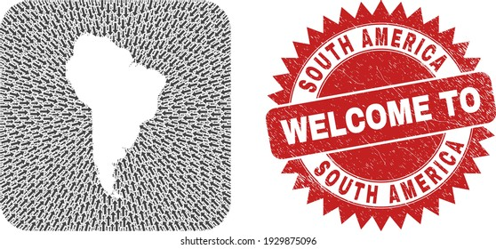 Vector collage South America map of motion arrows and grunge Welcome seal stamp. Collage geographic South America map created as carved shape from rounded square using direction arrows.