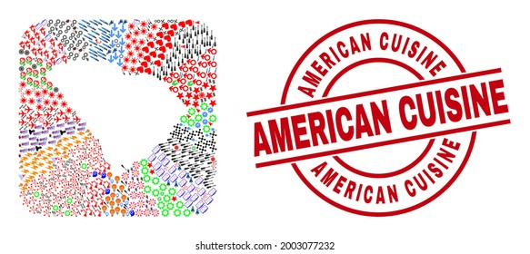 Vector collage South Carolina State map of different icons and American Cuisine seal stamp. Mosaic South Carolina State map created as carved shape from rounded square shape.
