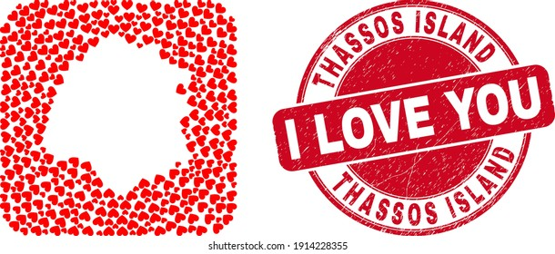 Vector collage Thassos Island map of love heart items and grunge love badge. Collage geographic Thassos Island map constructed as carved shape from rounded square shape with love hearts.
