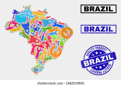 Vector collage of tools Brazil map and blue seal for quality product. Brazil map collage formed with tools, spanners, production symbols. Vector abstract collage of Brazil map for service business,