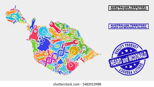 Vector collage of tools Heard and McDonald Islands map and blue watermark for quality product. Heard and McDonald Islands map collage made with tools, wrenches, science symbols.