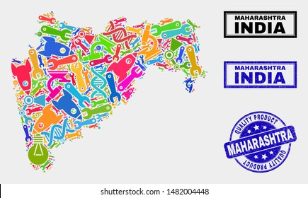 Vector collage of tools Maharashtra State map and blue seal for quality product. Maharashtra State map collage created with tools, wrenches, production icons.