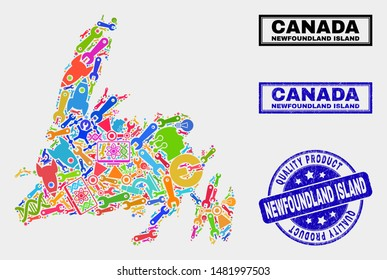 Vector collage of tools Newfoundland Island map and blue watermark for quality product. Newfoundland Island map collage created with tools, wrenches, production icons.