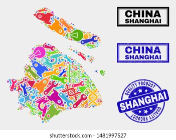 Vector collage of tools Shanghai City map and blue seal stamp for quality product. Shanghai City map collage made with equipment, wrenches, industry symbols.