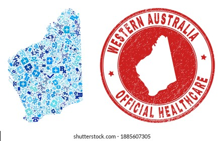 Vector collage Western Australia map with medical icons, laboratory symbols, and grunge health care seal stamp. Red round stamp with grunge rubber texture and Western Australia map caption and map.