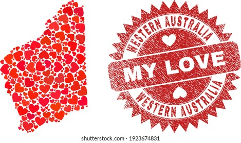 Vector collage Western Australia map of love heart elements and grunge My Love badge. Collage geographic Western Australia map created using valentine hearts.