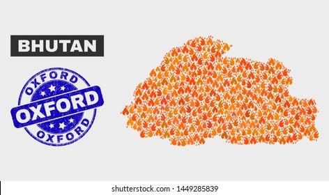 Vector collage of wildfire Bhutan map and blue round textured Oxford stamp. Fiery Bhutan map mosaic of flame icons. Vector collage for insurance services, and Oxford stamp.
