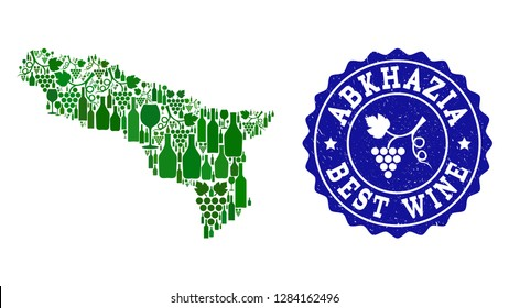 Vector collage of wine map of Abkhazia and best grape wine grunge seal stamp. Map of Abkhazia collage created with bottles and grape berries bunches.