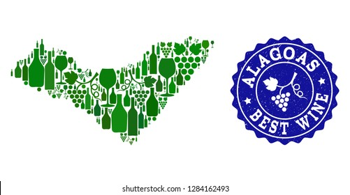 Vector collage of wine map of Alagoas State and best grape wine grunge stamp. Map of Alagoas State collage formed with bottles and grape berries bunches.