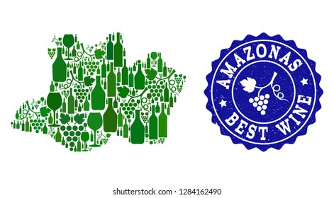 Vector collage of wine map of Amazonas State and best grape wine grunge stamp. Map of Amazonas State collage designed with bottles and grape berries bunches.