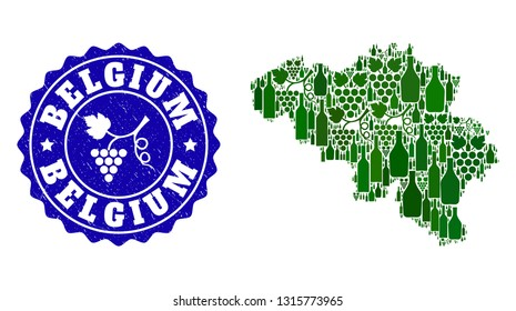 Vector collage of wine map of Belgium and grape grunge seal stamp. Map of Belgium collage formed with bottles and grape berries bunches.