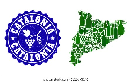 Vector collage of wine map of Catalonia and grape grunge seal. Map of Catalonia collage composed with bottles and grape berries bunches.