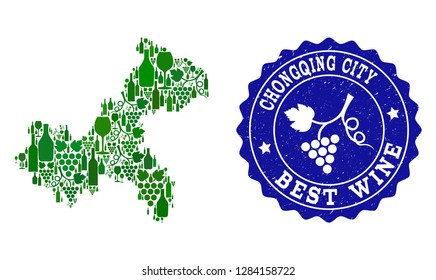 Vector collage of wine map of Chongqing Municipality and best grape wine grunge watermark. Map of Chongqing Municipality collage formed with bottles and grape berries bunches.