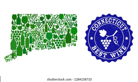 Vector collage of wine map of Connecticut State and best grape wine grunge seal. Map of Connecticut State collage formed with bottles and grape berries bunches.