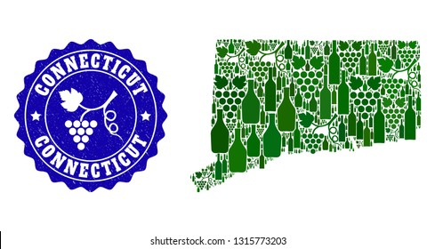 Vector collage of wine map of Connecticut State and grape grunge seal stamp. Map of Connecticut State collage composed with bottles and grape berries bunches.