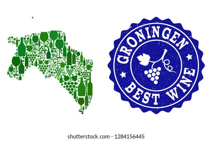 Vector collage of wine map of Groningen Province and best grape wine grunge seal. Map of Groningen Province collage composed with bottles and grape berries bunches.
