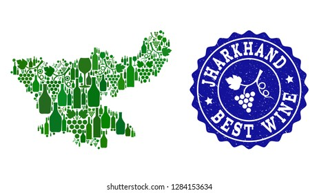 Vector collage of wine map of Jharkhand State and best grape wine grunge watermark. Map of Jharkhand State collage designed with bottles and grape berries bunches.
