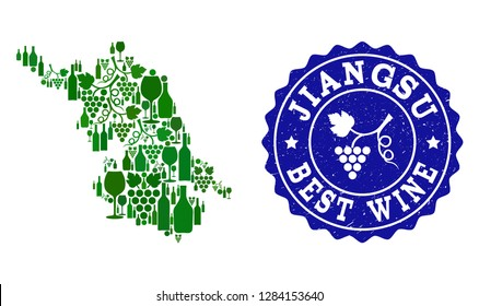 Vector collage of wine Map of Jiangsu Province and best grape wine grunge seal stamp. Map of Jiangsu Province collage designed with bottles and grape berries bunches.