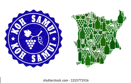 Vector collage of wine map of Koh Samui and grape grunge seal stamp. Map of Koh Samui collage created with bottles and grape berries bunches.