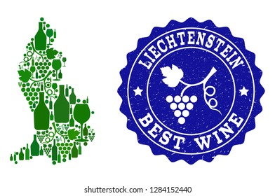 Vector collage of wine map of Liechtenstein and best grape wine grunge seal. Map of Liechtenstein collage composed with bottles and grape berries bunches.