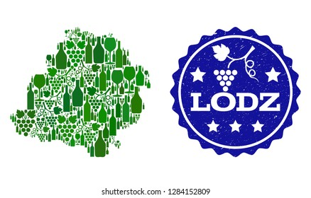 Vector collage of wine map of Lodz Province and best grape wine grunge seal. Map of Lodz Province collage formed with bottles and grape berries bunches.