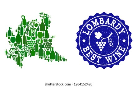 Vector collage of wine map of Lombardy region and best grape wine grunge seal stamp. Map of Lombardy region collage designed with bottles and grape berries bunches.