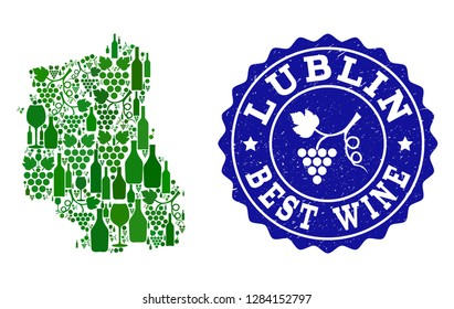 Vector collage of wine map of Lublin Province and best grape wine grunge watermark. Map of Lublin Province collage composed with bottles and grape berries bunches.