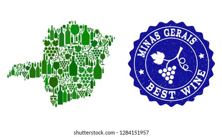 Vector collage of wine map of Minas Gerais State and best grape wine grunge watermark. Map of Minas Gerais State collage formed with bottles and grape berries bunches.
