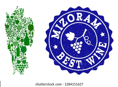 Vector collage of wine map of Mizoram State and best grape wine grunge stamp. Map of Mizoram State collage designed with bottles and grape berries bunches.
