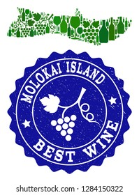Vector collage of wine map of Molokai Island and best grape wine grunge seal. Map of Molokai Island collage designed with bottles and grape berries bunches.