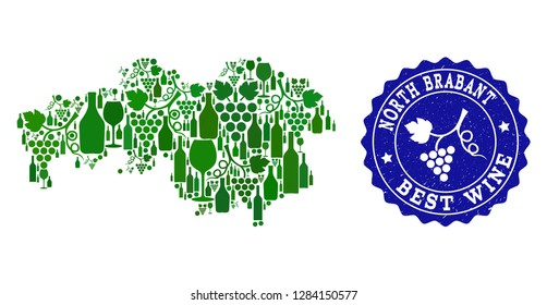 Vector collage of wine map of North Brabant Province and best grape wine grunge stamp. Map of North Brabant Province collage created with bottles and grape berries bunches.