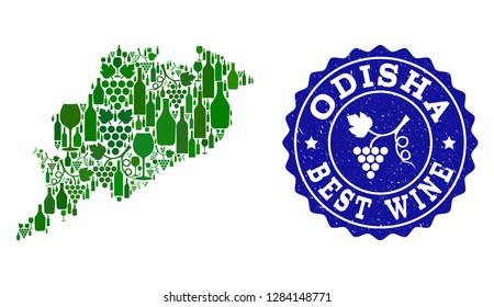 Vector collage of wine map of Odisha State and best grape wine grunge seal stamp. Map of Odisha State collage designed with bottles and grape berries bunches.