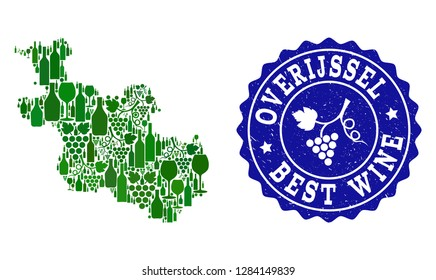 Vector collage of wine map of Overijssel Province and best grape wine grunge watermark. Map of Overijssel Province collage composed with bottles and grape berries bunches.