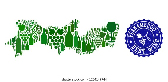 Vector collage of wine map of Pernambuco State and best grape wine grunge stamp. Map of Pernambuco State collage designed with bottles and grape berries bunches.