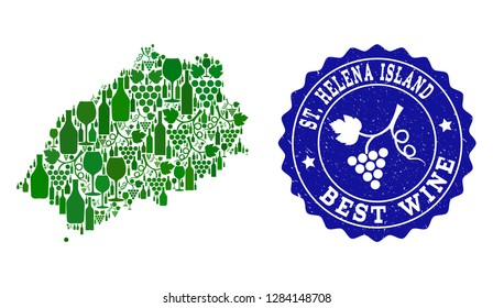 Vector collage of wine map of Saint Helena Island and best grape wine grunge watermark. Map of Saint Helena Island collage composed with bottles and grape berries bunches.