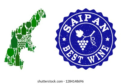 Vector collage of wine map of Saipan Island and best grape wine grunge watermark. Map of Saipan Island collage designed with bottles and grape berries bunches.