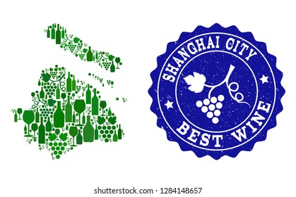 Vector collage of wine map of Shanghai Municipality and best grape wine grunge seal stamp. Map of Shanghai Municipality collage designed with bottles and grape berries bunches.