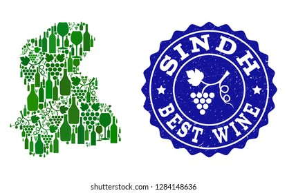 Vector collage of wine map of Sindh Province and best grape wine grunge seal stamp. Map of Sindh Province collage composed with bottles and grape berries bunches.