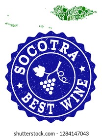 Vector collage of wine map of Socotra Archipelago and best grape wine grunge stamp. Map of Socotra Archipelago collage designed with bottles and grape berries bunches.