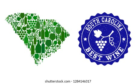 Vector collage of wine map of South Carolina State and best grape wine grunge seal stamp. Map of South Carolina State collage composed with bottles and grape berries bunches.