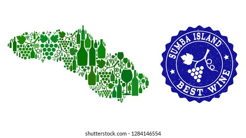 Vector collage of wine map of Sumba Island and best grape wine grunge watermark. Map of Sumba Island collage created with bottles and grape berries bunches.