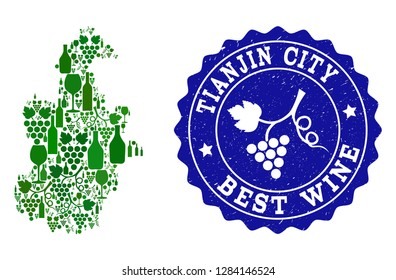 Vector collage of wine map of Tianjin Municipality and best grape wine grunge seal. Map of Tianjin Municipality collage composed with bottles and grape berries bunches.