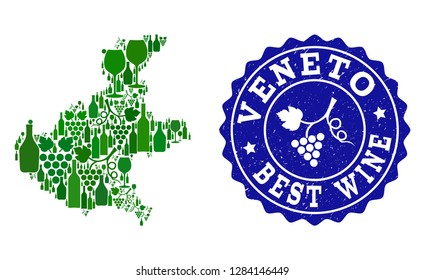 Vector collage of wine map of Veneto region and best grape wine grunge seal stamp. Map of Veneto region collage created with bottles and grape berries bunches.