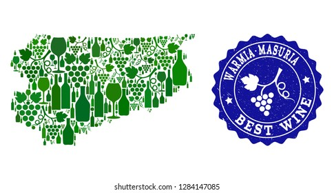 Vector collage of wine map of Warmia-Masuria Province and best grape wine grunge seal. Map of Warmia-Masuria Province collage designed with bottles and grape berries bunches.
