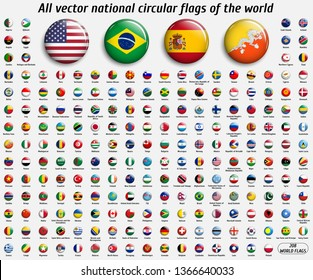 Vector collection of 208 national circular flags with detailed emblems and transparent effect