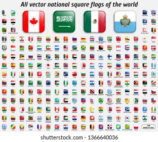 Vector collection of 208 national square flags with detailed emblems and transparent effect