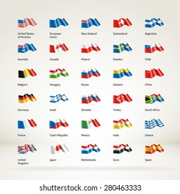 Vector collection of 30 realistic 3d waving National flags. High quality design elements. Eps10