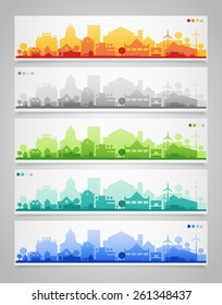 Vector collection of 5 horizontal banners with small town or village silhouettes