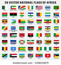 Vector collection of 56 national flags with detailed emblems of Africa in correct proportion