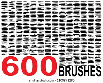 Vector collection of 600 artistic grungy black paint hand made creative brush stroke set isolated white background. Large group abstract grunge sketches for design education or graphic art decoration